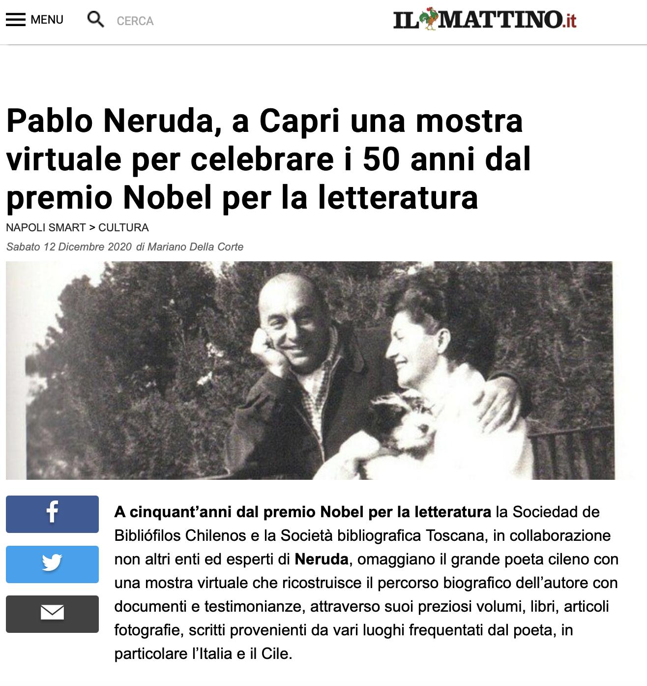 """Articolo su """"Il Mattino"""" dedicato ad Adelino Di Marino per il suo lavoro per la mostra virtuale dedicata a Pablo Neruda 12/12/20"""