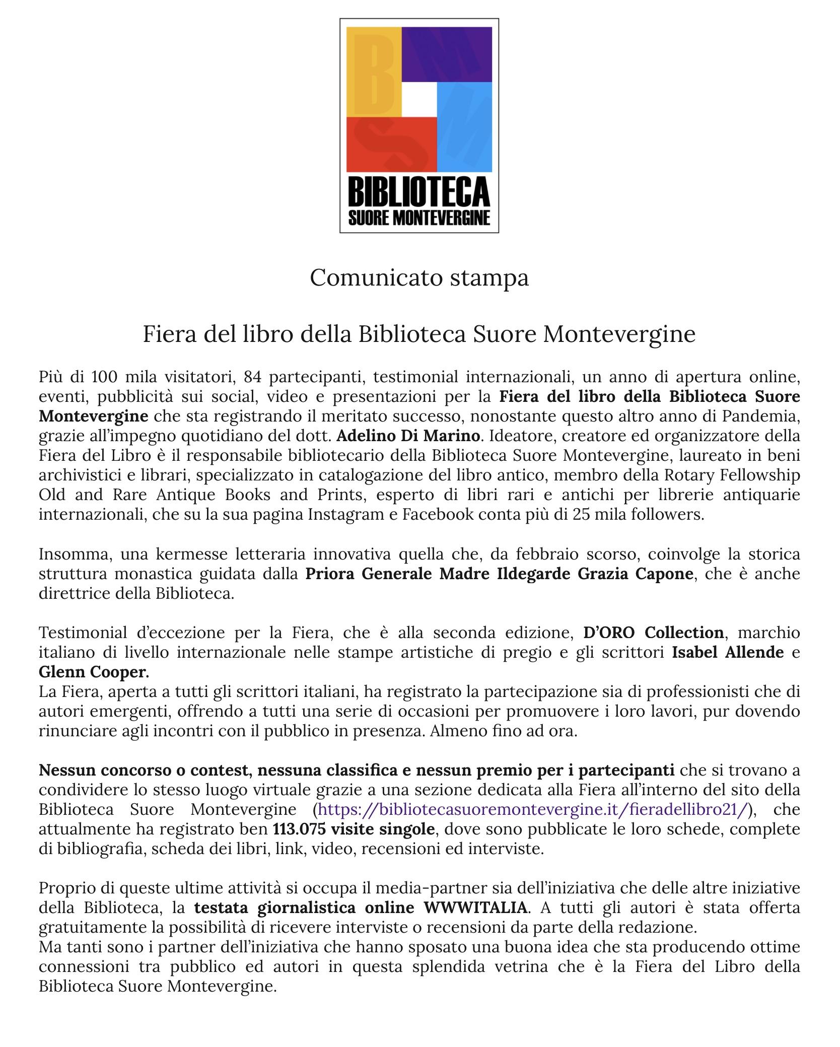 Comunicato stampa Fiera del Libro Biblioteca Suore Montevergine