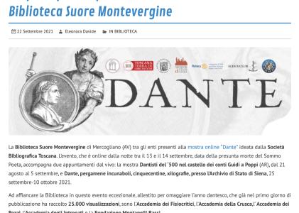 """L'Irpinia partecipa alla mostra""""Dante""""con la Biblioteca Suore Montevergine"""